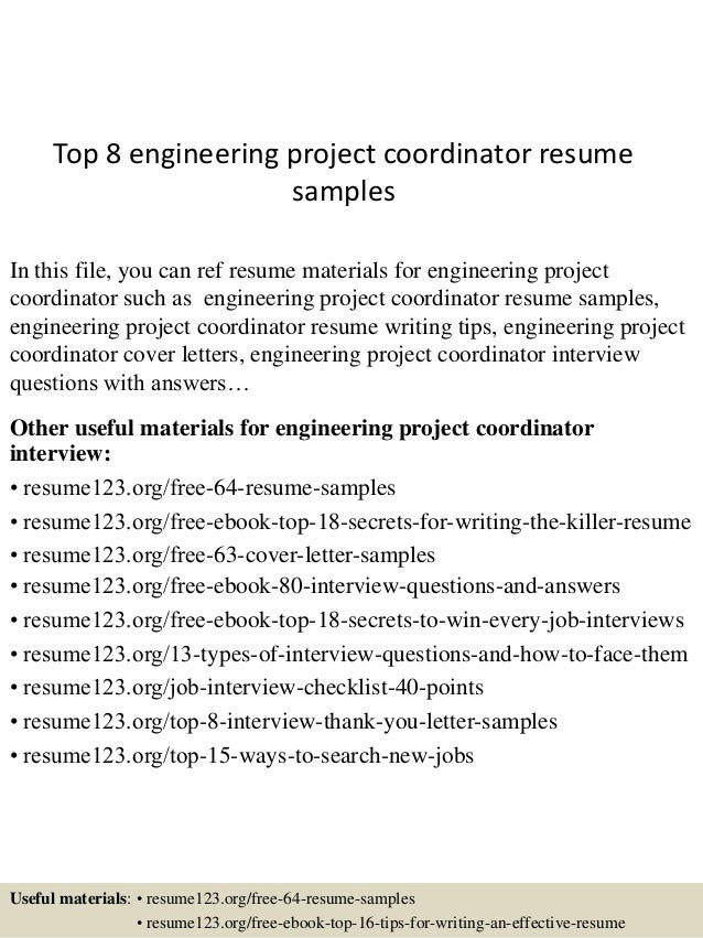 Top 8 Engineering Project Coordinator Resume Samples In This File, You Can  Ref Resume Materials ...  Sample Project Coordinator Resume