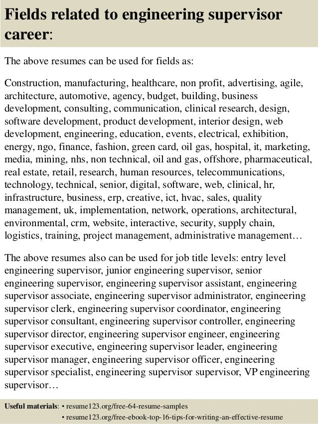 top 8 engineering supervisor resume samples