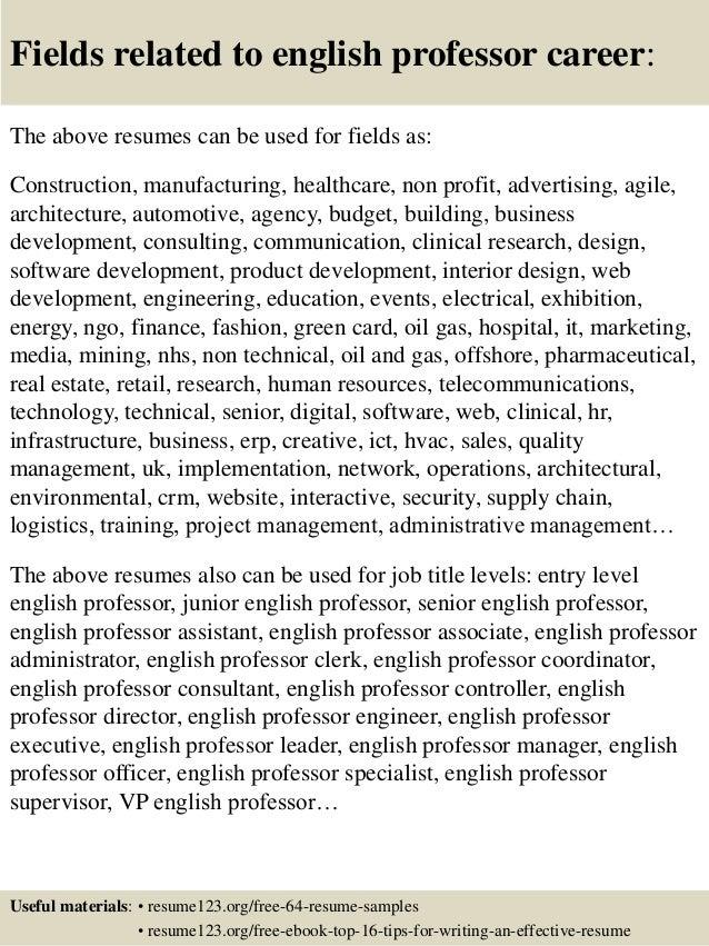 Top English Professor Resume Samples - Sample professor resume