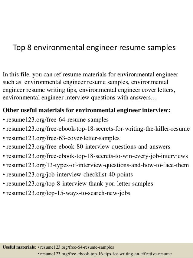 Resume Sample Resume For Environmental Engineers top 8 environmental engineer resume samples 1 638 jpgcb1429945204 in this file you can ref materials for