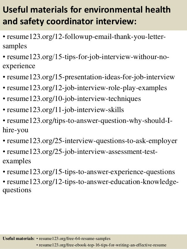 Health and safety coordinator sample resume