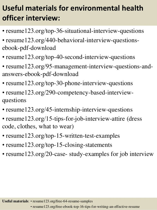 12 useful materials for environmental health - Environmental Health Specialist Sample Resume