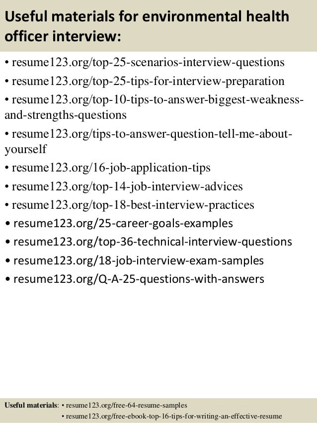 13 useful materials for environmental health - Environmental Health Specialist Sample Resume