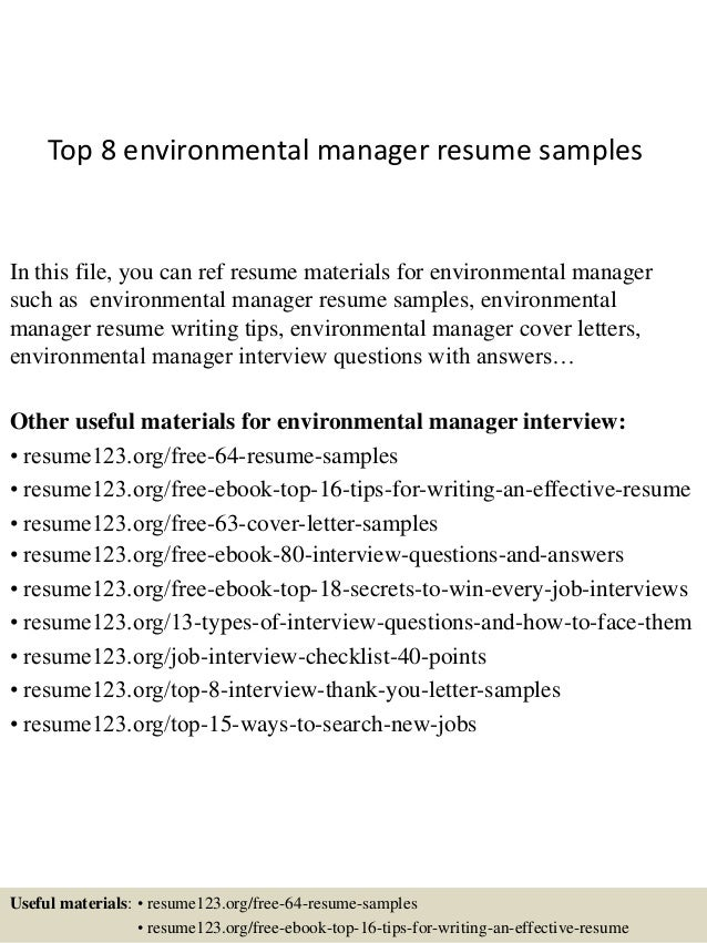 Top 8 Environmental Manager Resume Samples