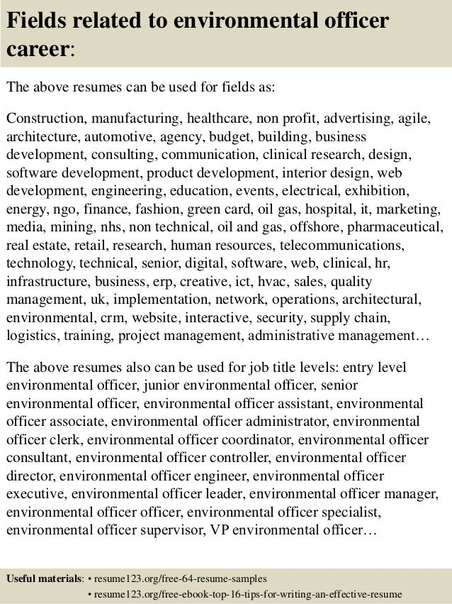 Charming ... 16. Fields Related To Environmental Officer ...