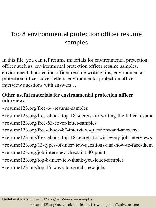 top 8 environmental protection officer resume samples in this file you can ref resume materials - Environmental Specialist Sample Resume