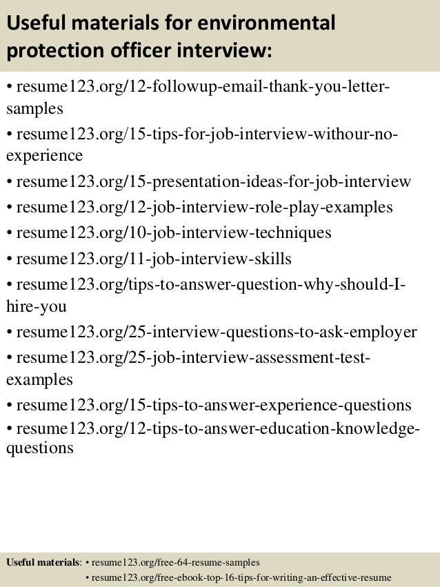 14 useful materials for environmental - Environmental Specialist Sample Resume