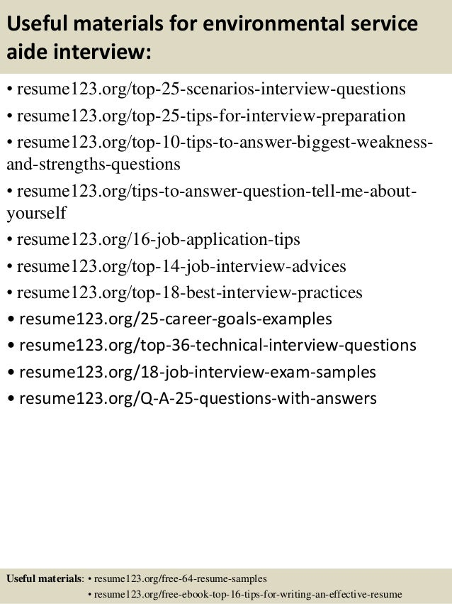13 useful materials for environmental service aide - Environmental Service Aide Sample Resume