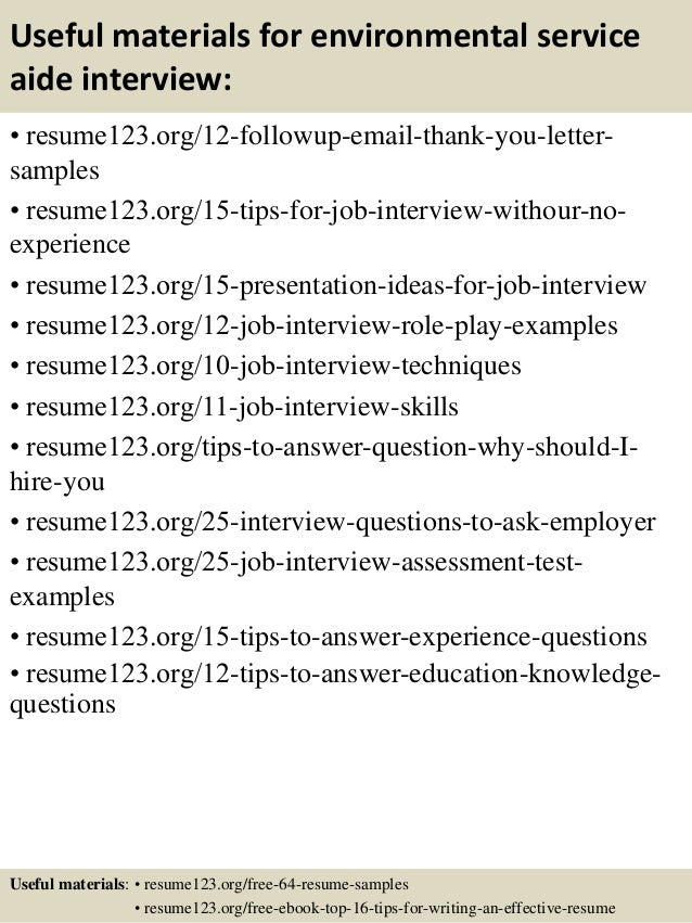 14 useful materials for environmental service aide - Environmental Service Aide Sample Resume