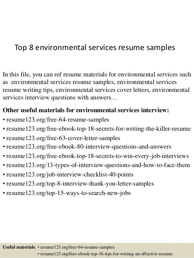 environmental services resume