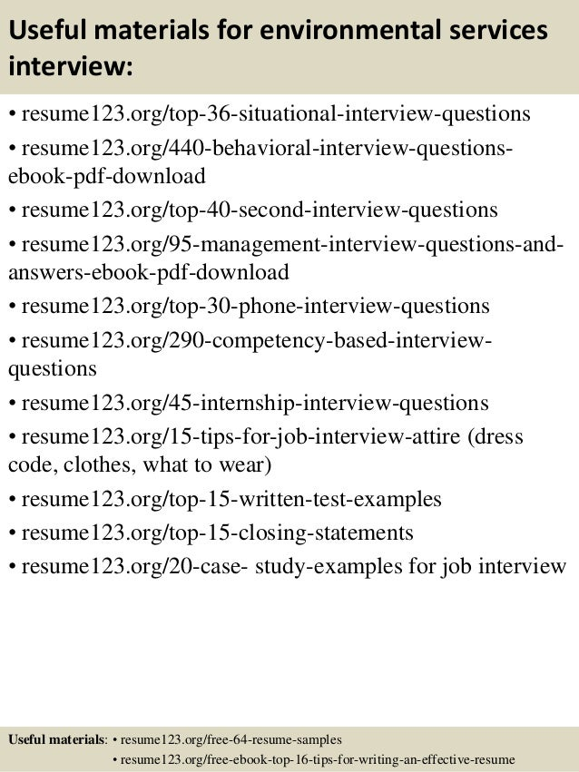 top 8 environmental services resume samples