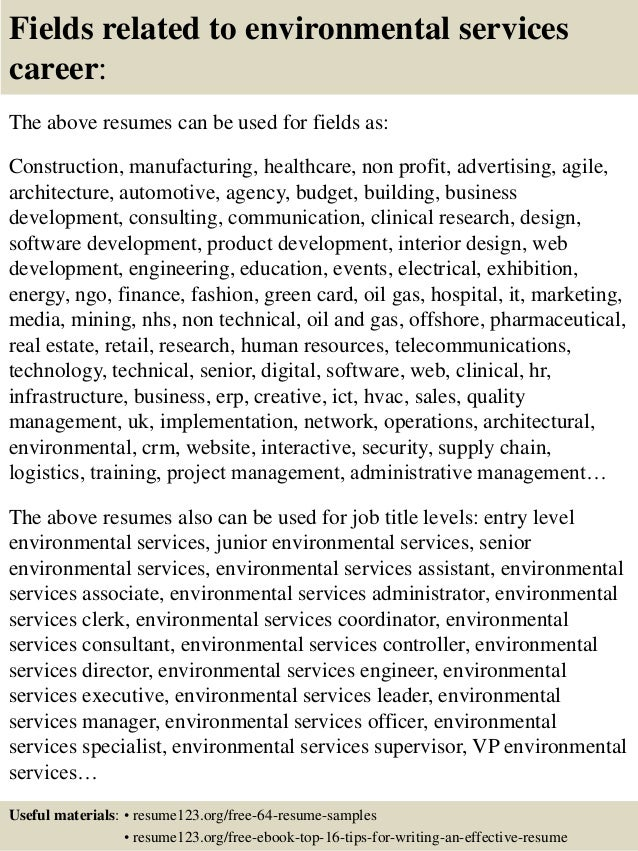 objective for environmental services resume entry level ...
