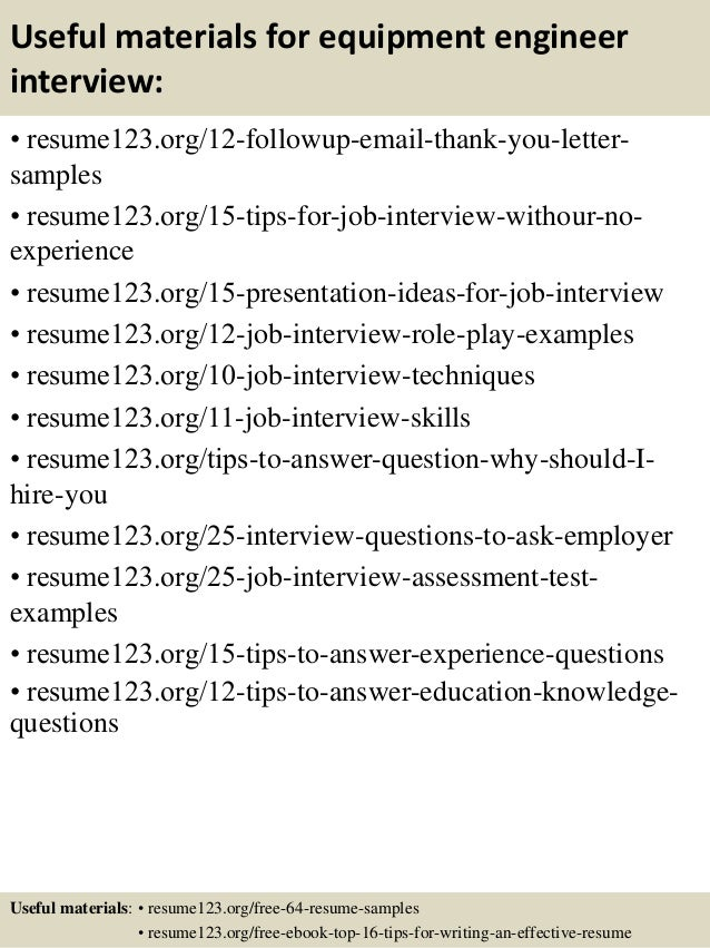 14 useful materials for equipment engineer - Equipment Engineer Sample Resume
