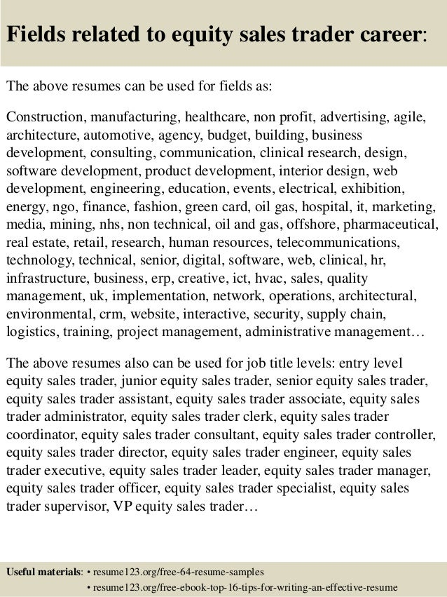 ... 16. Fields Related To Equity Sales Trader ...