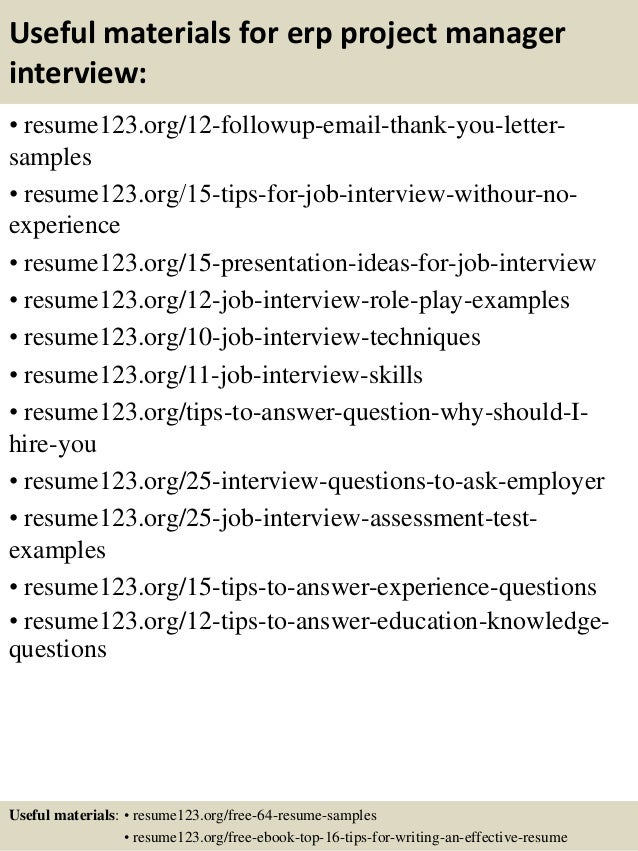 Top 8 Erp Project Manager Resume Samples   Sample Resumes For Project  Managers