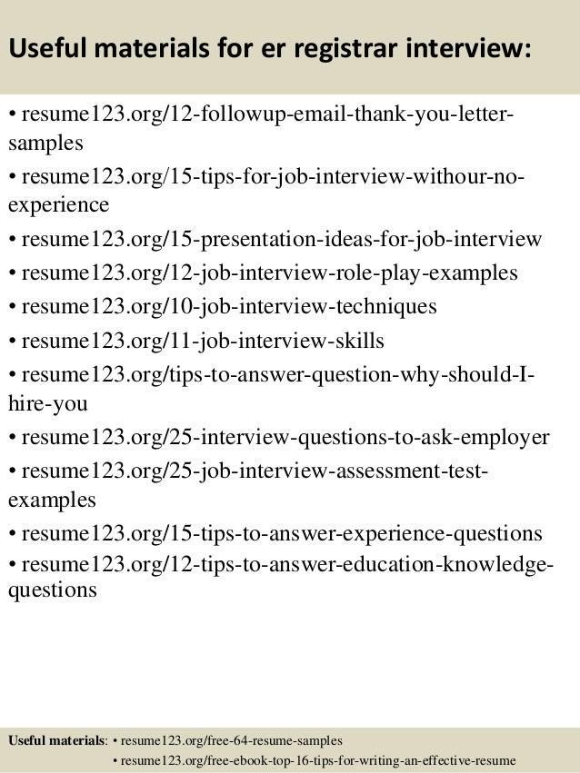 Er Registrar Sample Resume Professional Registration Clerk