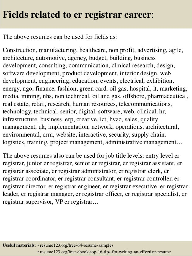 Er Registrar Sample Resume Professional Registration Clerk