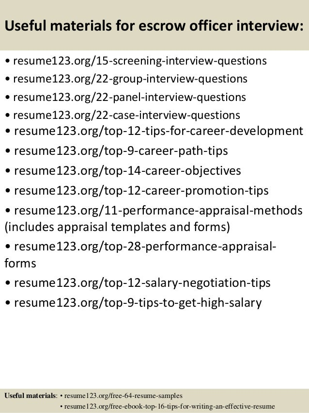 Top 8 escrow officer resume samples