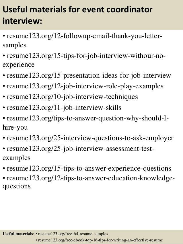 Top 8 event coordinator resume samples – Events Coordinator Resume