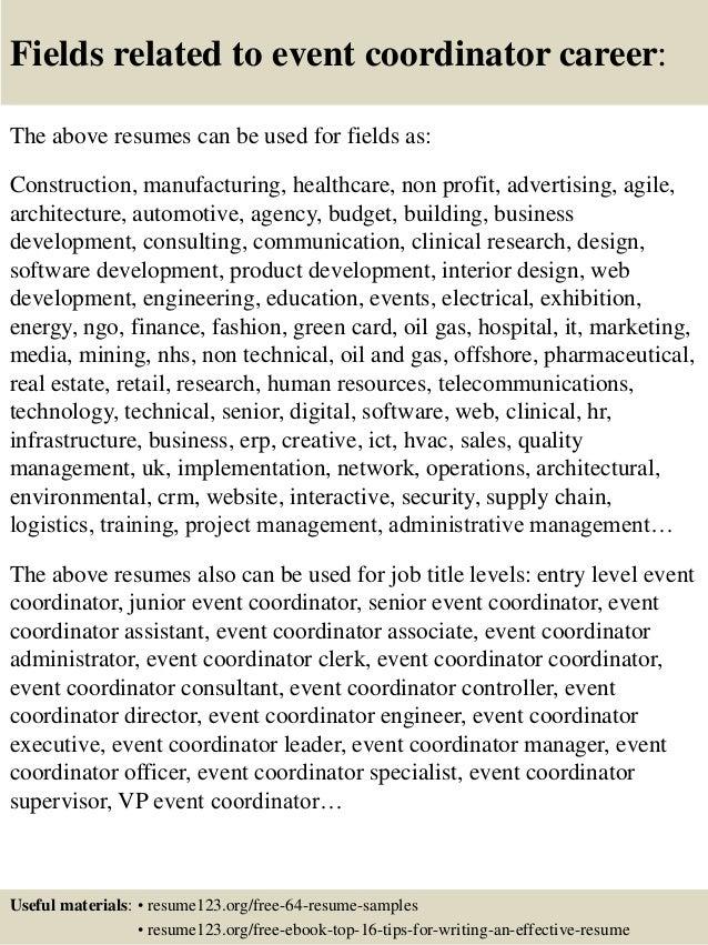 Top 8 event coordinator resume samples