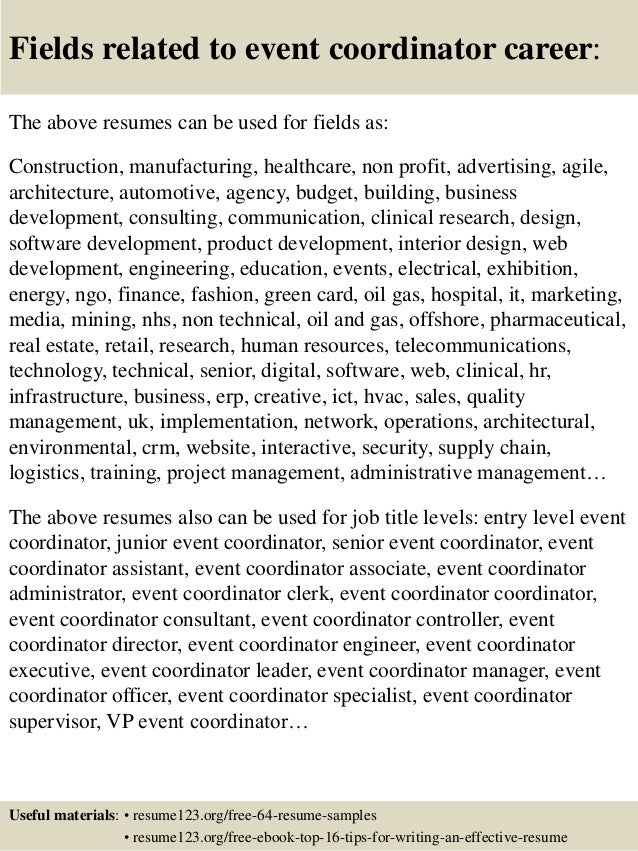 16 fields related to event coordinator - Event Manager Resume