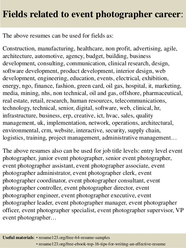 top 8 event photographer resume samples