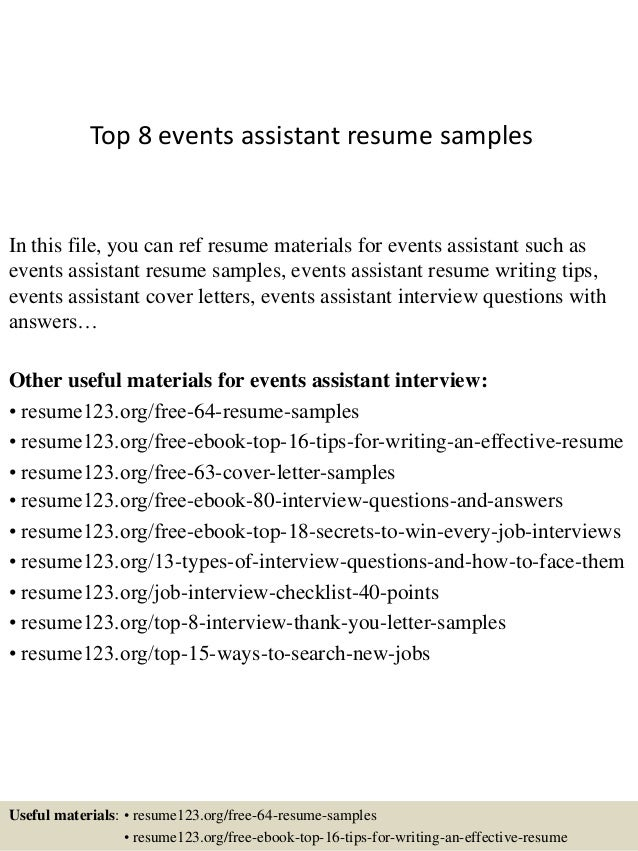 top 8 events assistant resume samples
