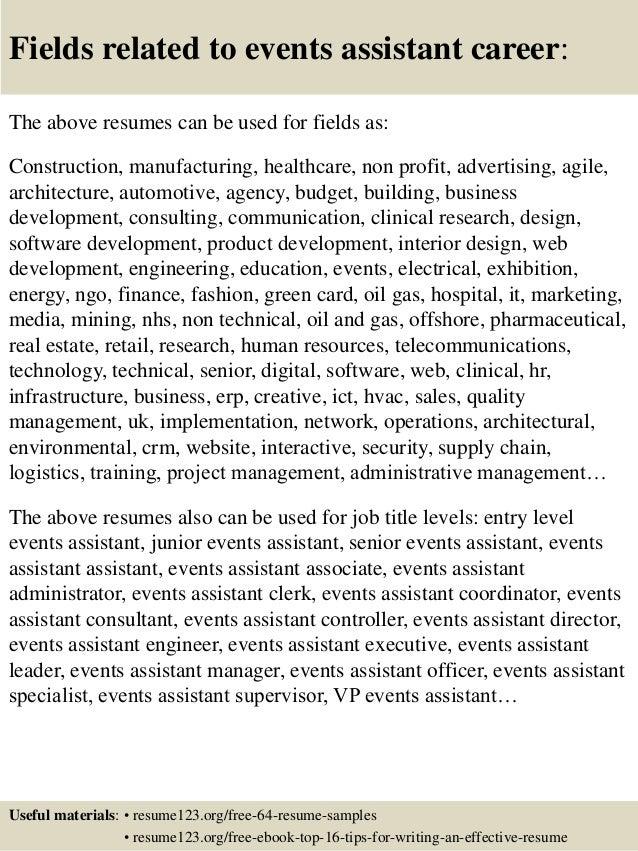 event resume samples