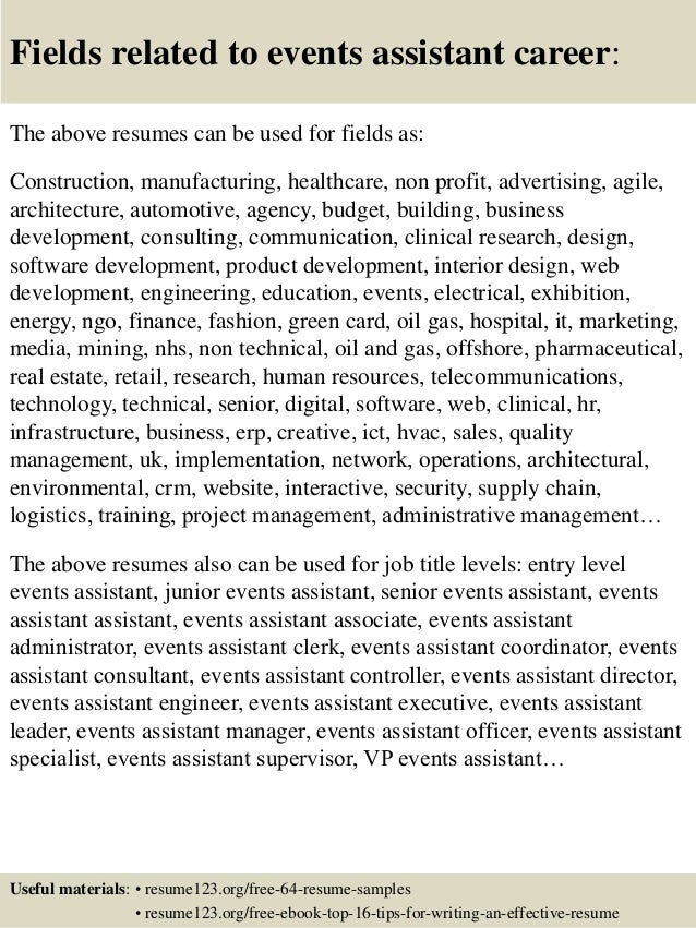 16. Fields Related To Events Assistant Career: The Above Resumes .