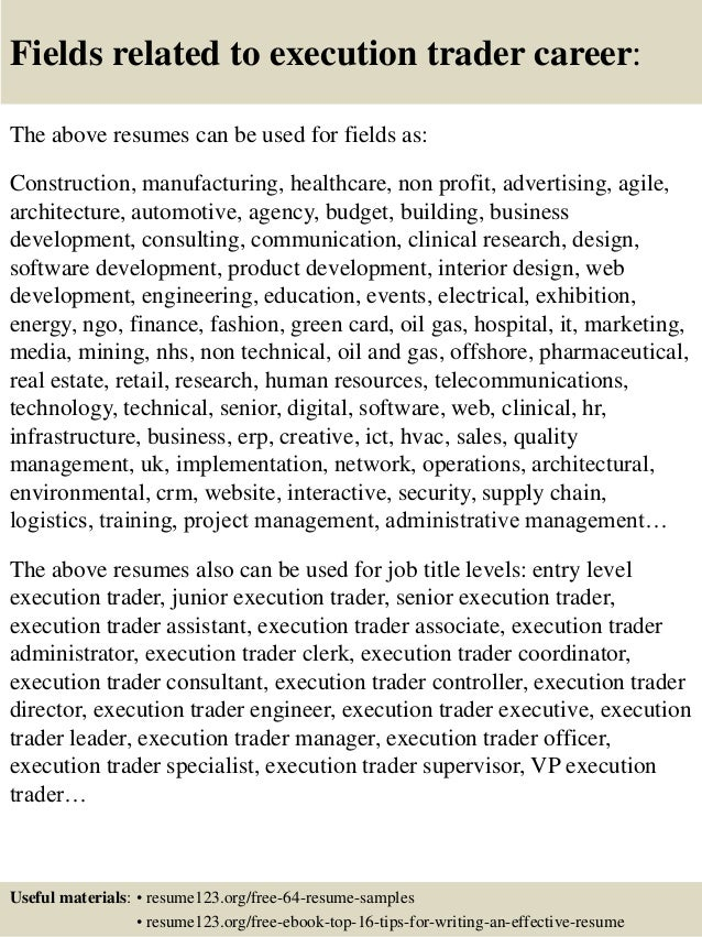 Top 8 execution trader resume samples