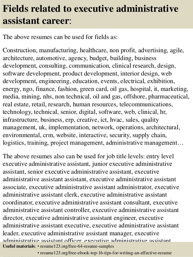 16 fields related to executive administrative assistant