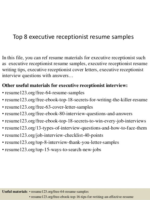 top 8 executive receptionist resume samples