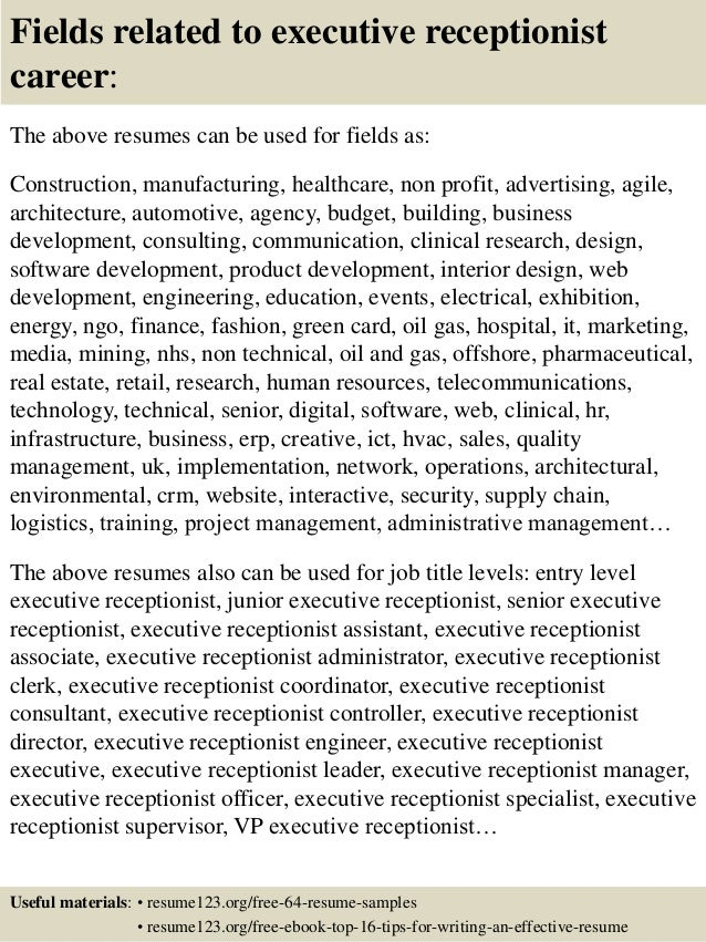 executive receptionist resumes