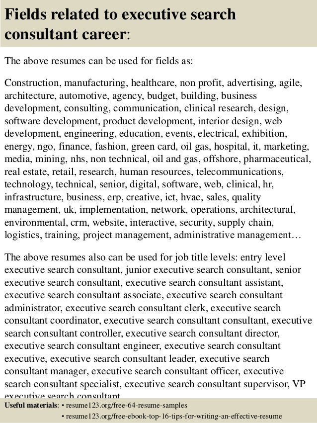 Top 8 executive search consultant resume samples 16 altavistaventures