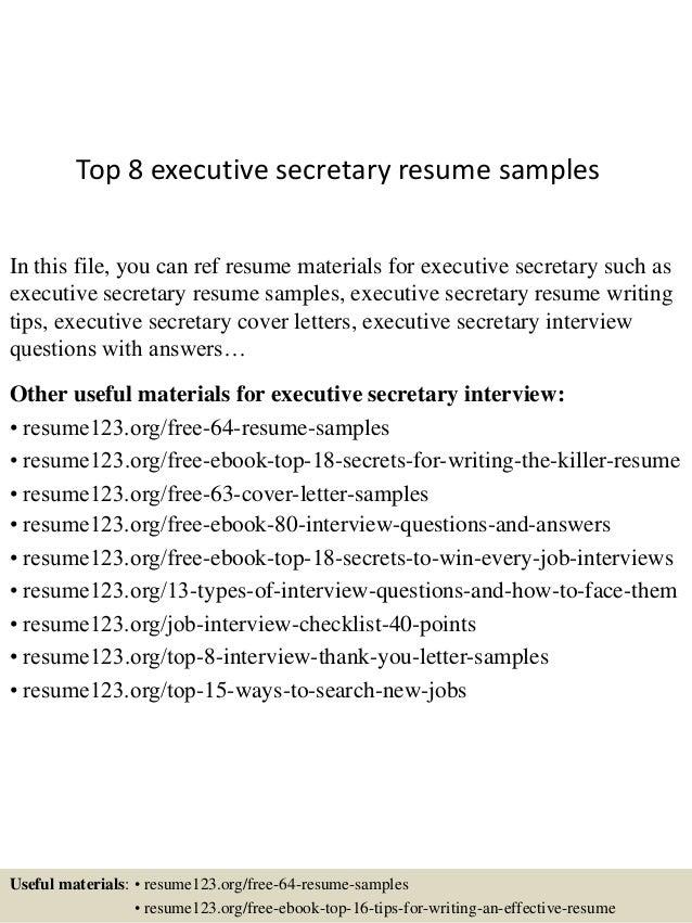 Free Sample Of Executive Secretary Resume