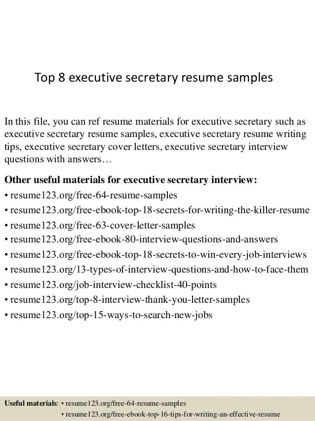 top 8 executive secretary resume samples in this file you can ref resume materials for