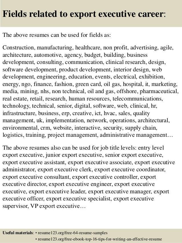 top 8 export executive resume samples