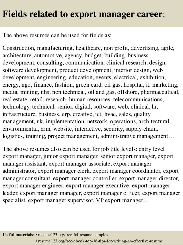 Resume Resume Sample Export Manager top 8 export manager resume samples 16 fields related to manager