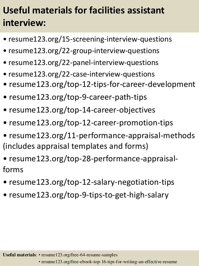 Top 8 facilities assistant resume samples