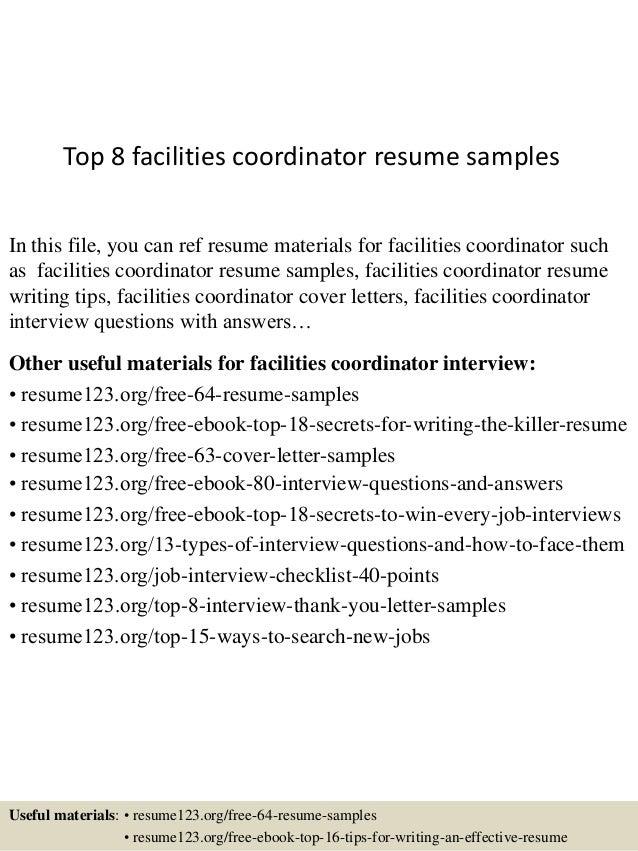 Facilities Coordinator Resume  Outreach Coordinator Resume