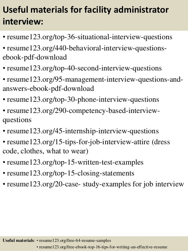 top 8 facility administrator resume samples