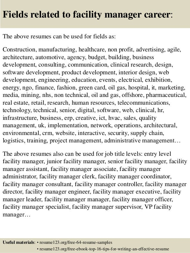 16 fields related to facility manager career the above resumes