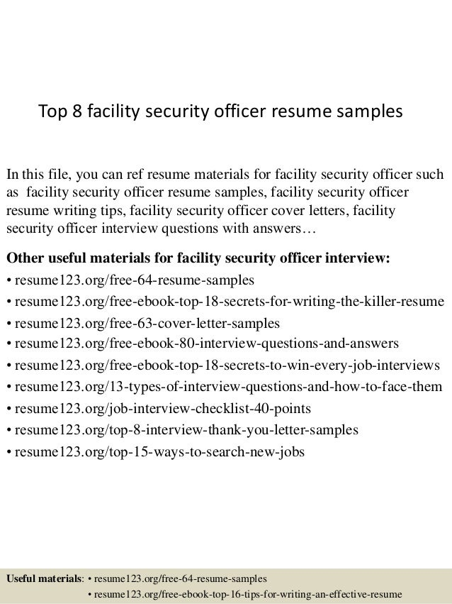 top 8 facility security officer resume samples in this file you can ref resume materials - Security Officer Resume