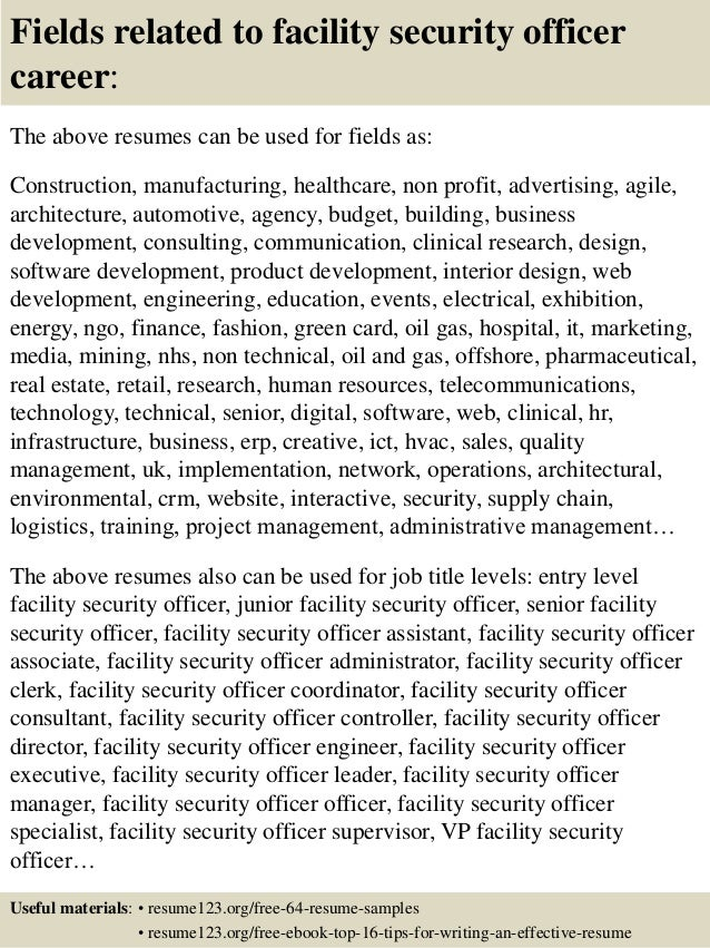 top 8 facility security officer resume samples