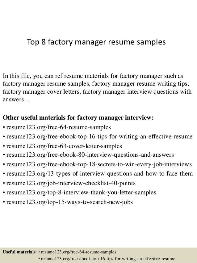 top 8 factory manager resume samples in this file you can ref resume materials for - Factory Resume Examples