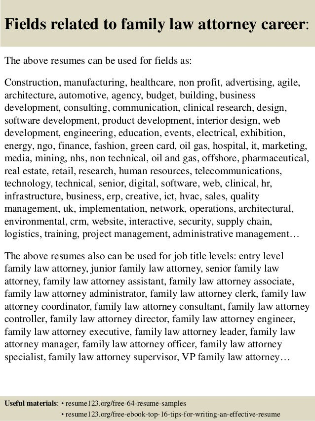 ... 16. Fields related to family law attorney ...