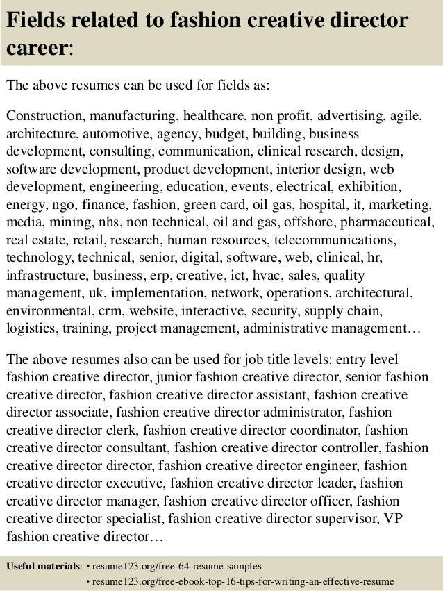 Top 8 Fashion Creative Director Resume Sles