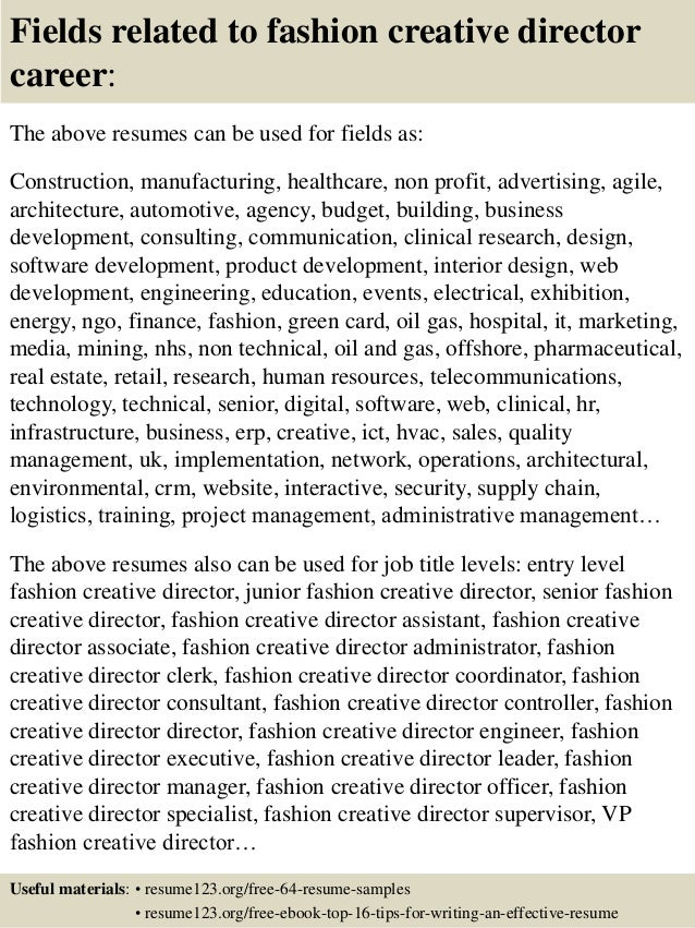 16 fields related to fashion creative director