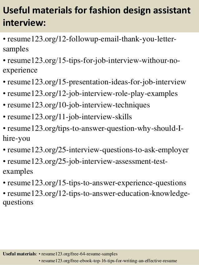 top 8 fashion design assistant resume samples