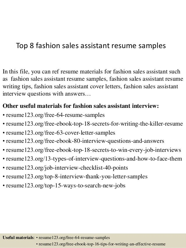 top 8 fashion sales assistant resume samples in this file you can ref resume materials - Sales Assistant Resume